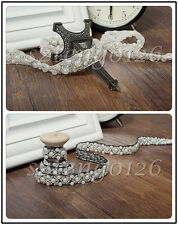 1/5M Beaded Pearl Lace Trim Wedding Bridal Dress Ribbon Belt Sash Sewing Craft