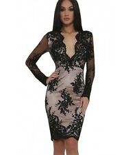 Black Mesh Deep Plunge Bodycon Dress Party Boutique Lace Sleeved 6 8 10