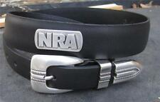 New NRA mens leather belt size 32 National Rifle Association with silver conchos