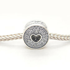 Authentic Genuine S925 Sterling Silver Love Lines Heart Clear CZ Charm