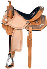 NEW WESTERN HORSE BARREL RACING LEATHER PLEASURE TRAIL SHOW SADDLE