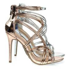 Royals42 High Heel Stiletto Dress Sandal w Metallic Straps. Evening Party Shoes