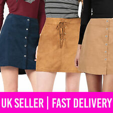 Ladies Womens Suede Corduroy Lace-Up Tie Button Mini Skirt Tan Navy UK Size 8-12