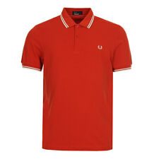 New Mens Fred Perry  Tipped Polo Shirt - Orange   Short sleeve  Collared