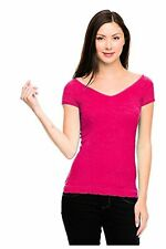 G2 Chic Womens Off-Shoulder Wide Neck Stretchy Knit T-Shirt Top(TOP-CAS