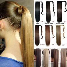 100% Real Clip In Hair Extension Pony Tail Wrap Around Ponytail Long Hairpiece W