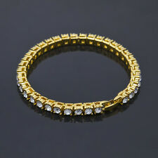 Single Row Bling Rhinestone Gold Plating Alloy Hip Hop Bracelet Jewelry Chain
