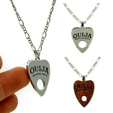 OUIJA BOARD PLANCHETTE NECKLACE Silver Tone Metal Wood Pendant Goth Occult Punk
