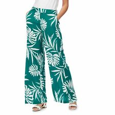 The Collection Womens Dark Green Palm Print Wide Leg Trousers From Debenhams
