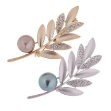 Leaf Crystal Faux Pearl Corsage Brooch Pin Women Girls Mother's Gift Jewelry