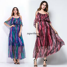 Sexy Women Chiffon Faux Silk Off Shoulder Pleated Cocktail Beach Long Maxi Dress