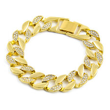 Bling Cuban Bracelet Half Rhinestone Gold Plating Alloy Hip Hop Jewelry Chain