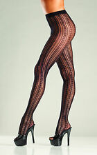 sexy BE WICKED vertical STRIPES striped FISHNET netted nylons TIGHTS pantyhose