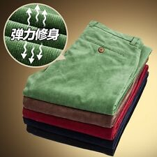 Men Slim Cotton Corduroy Trousers Casual Retro Smart Thermal Stretchy Pants Soft