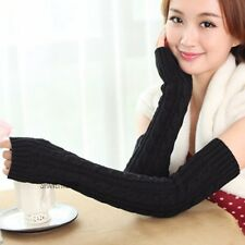 Women Cable Knitted Chunky Arm Warmer Sleeve Long Fingerless Glove Braid Fashion