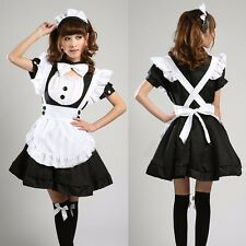 Waitress French Maid Fancy Dress Cosplay Costume Outfit Short-Sleeve Party Sexy
