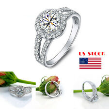 Lady 925 Sterling Sliver Rhinestone Rings Engagement Wedding Lover Ring Jewelry
