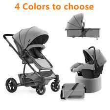 Baby Kids Stroller 3 in 1 Pushchair High View With Baby Basket Car Seat Carriage