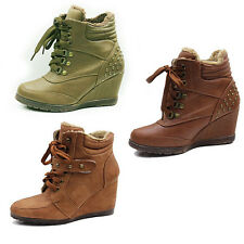 WOMENS LADIES WEDGE HEEL LACE UP ANKLE BOOT BOOTS TRAINERS SHOES SIZE 3-8