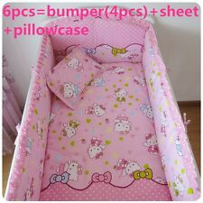 Baby Bedding Crib Cot Quilt Sheet Set-NEW 6pcs Quilt Bumpers Sheet Hello Kitty