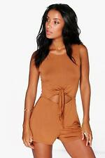 NEW Boohoo Womens Molly Tie Front Sleeveless Playsuit in