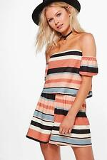 NEW Boohoo Womens Isobel Striped Off The Shoulder Playsuit in