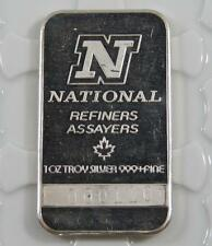 Vintage N National Refiners 1 Troy Oz 999 Fine Silver Bar Low Serial # C0302