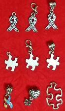 AUTISM AWARENESS CHARM - RIBBON - PUZZLE PIECE - EUROPEAN - LOVE - CONNECTOR