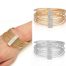 Fashion Crystal Metal Bracelet Filled Rhinestone Bangle Wristband Cuff
