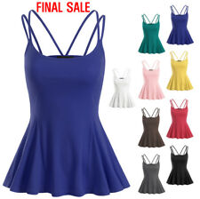 [FINAL SALE] Doublju Womens Sleeveless Strappy Flared Peplum Top