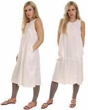 Cool Loose Fit Summer Midi Dress Casual Holiday Cotton White UK 12