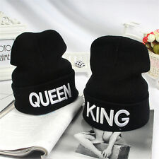 KING QUEEN Embroidery Beanie Bed Head Knit Unisex Fashion Hat Couple Gifts c1H