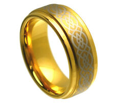 8mm Ladies Gold Tungsten Carbide Celtic Knot Loyalty Wedding Band Ring