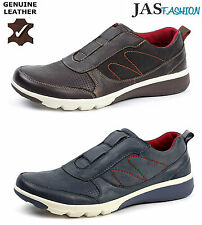 Mens Leather Casual Slip On Comfort Trainers Sport Fashion Shoes UK Size 6-11