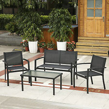Outdoor Patio Garden Furniture Set Glass Table Chairs Bench 4 PCS Black Blue