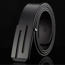 Luxury Mens Genuine Leather Belt Strap With Black Smooth Buckle Casual/Business