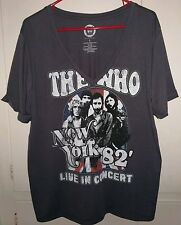 """The WHO New York Live in Concert 1982"""" Original Gray V-Neck Shirt Women Size-M-L"""