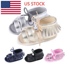 US Baby Kids Girls Lace Up Flats Sandals Tassel Soft Toddler Shoes 0-18 Month