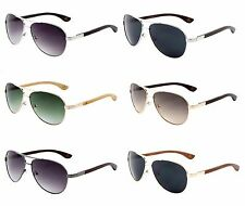 Sunglasses EKO Metal Aviator with Wood Temples, Wooden Sunglasses (WD-2031)