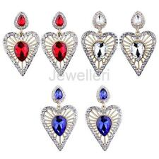 Women Girls Hollow Crystal Love Heart Diamante Teardrop Dangle Earrings Jewelry