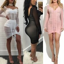 Sexy Women Long Sleeve Perspective Bodycon Clubwear Cocktail Evening Party Dress