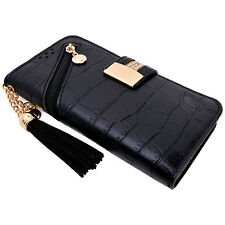 Womens Black PU Leather Tassel Flip Wallet Case Cover Card Holder for iPhone 7 6