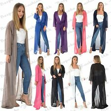 Ladies Chiffon Maxi kimono Women's Belted Cardigan Kaftan Look Loose Beach Top