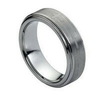 7mm Men & Ladies Tungsten Carbide Step Edge With Cross Wedding Band Ring
