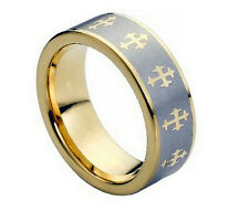 8mm Men & Ladies Tungsten Carbide Two-tone Gold with Cross Wedding Band Ring