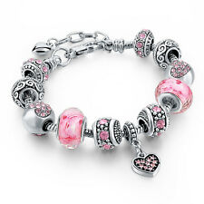 Women Charm 925 Silver Plated Chain Cuff Bangle Bracelet Jewelry Crystal Beads