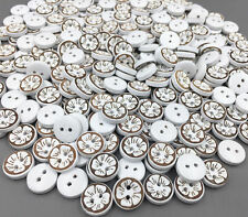 Wooden Round Buttons Sewing Flower pattern Scrapbooking Crafts 2-holes 12mm