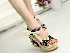 NEW Fashion Women Sandals Summer Wedges Platform Lace Belt Bow High Heels Shoes