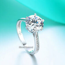 Fine 925 Sterling Silver 3 Carat Wedding Engagement Ring Simulated Diamond