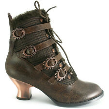 Hades Nephele Brown Platform Heel Ankle Boots - Gothic,Goth,Shoes,Steam